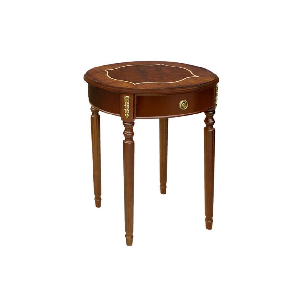 Mesa Lateral George I Oval com Gaveta Personalizado Madeira Maciça Detalhe em Marchetaria Design Clássico