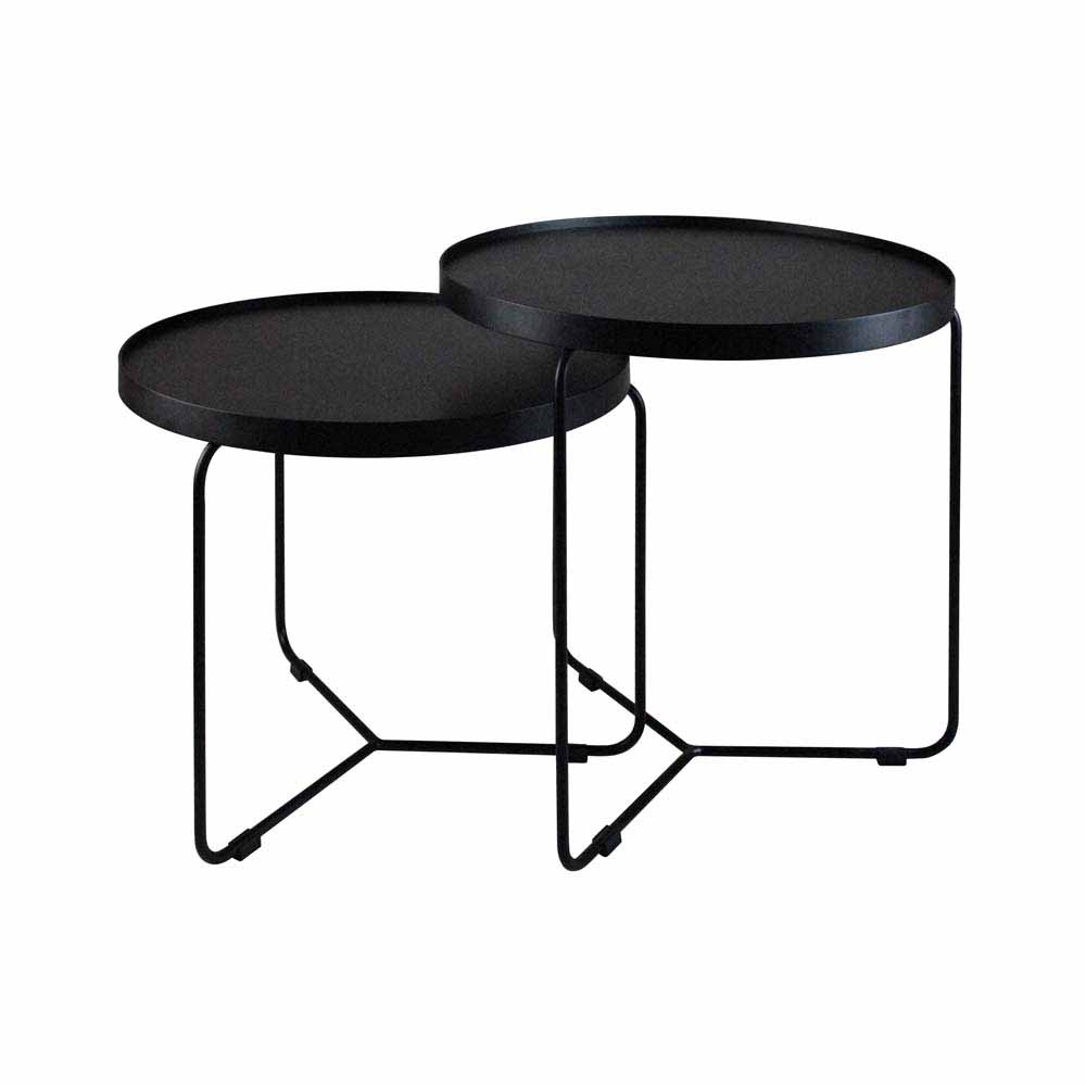 Mesa Lateral Orbit Base Aço Carbono Preto Design Industrial e Minimalista