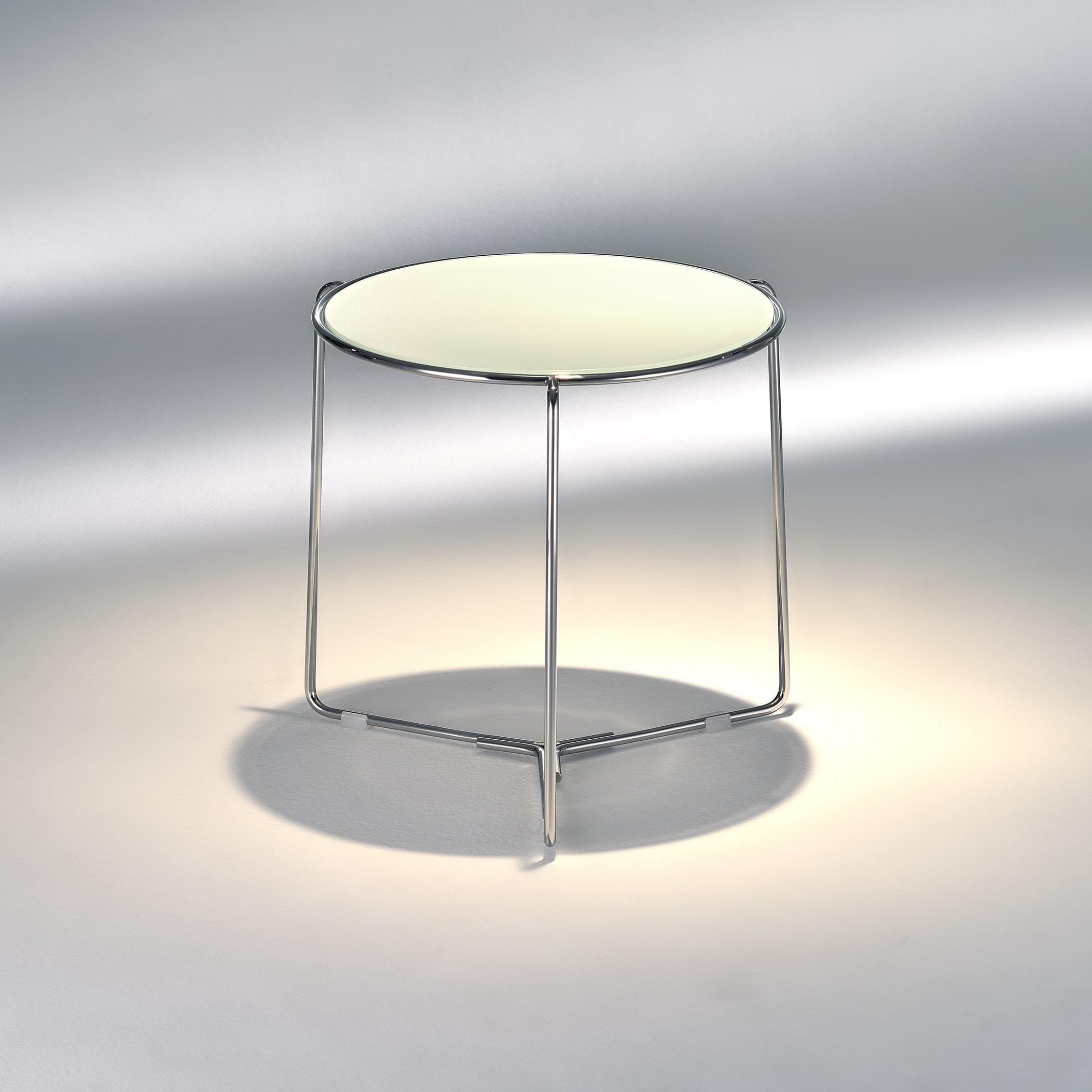 Mesa Lateral Tavoline Estrutura Aço Inox e Tampo Vidro Cristal Design by Studio Mais