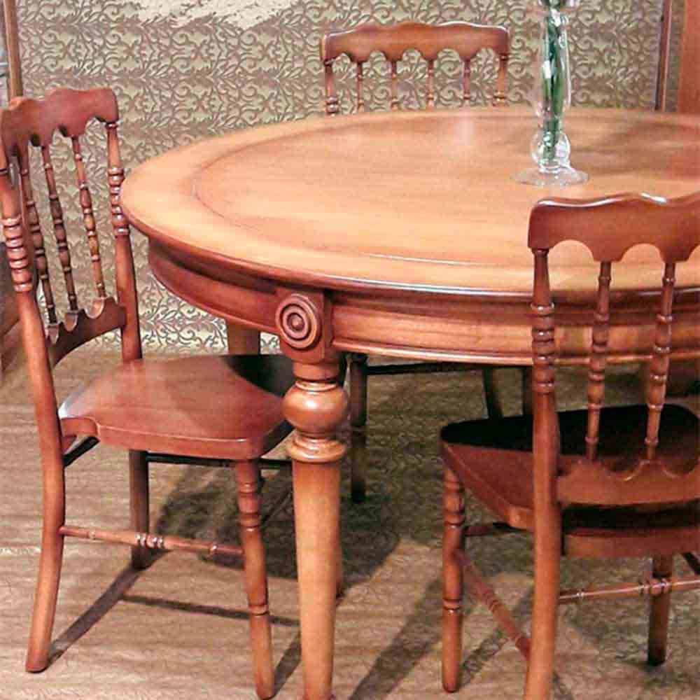 Mesa de Jantar Dior Redonda Madeira Maciça Design Clássico Avi Móveis