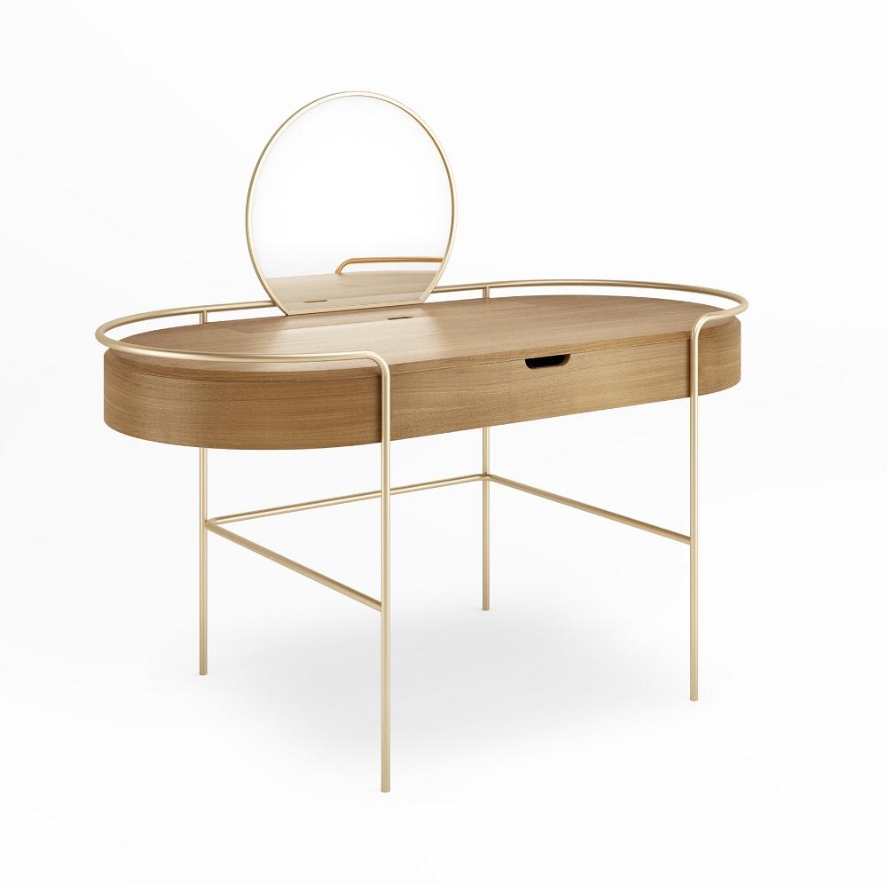 Penteadeira Arco com Espelho Base Aço Carbono Coleção Bari Tremarin Design by Ambos Studio