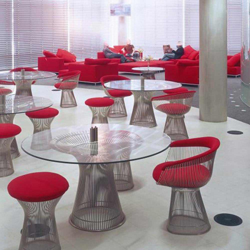 Mesa de Jantar Platner Tampo de Vidro Estrutura em Aço Nolan Collection Design by Warren Platner