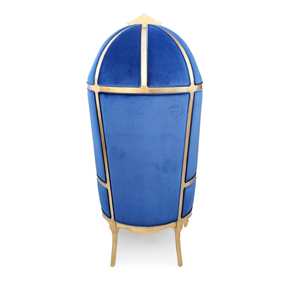 Poltrona Capela Folha de Ouro Veludo Azul
