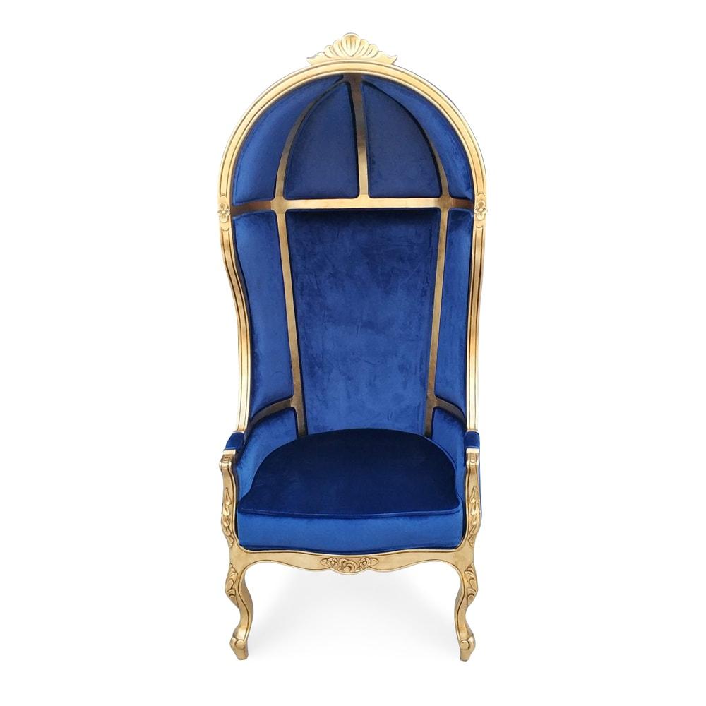 Poltrona Capela Folheada a Ouro Veludo Azul