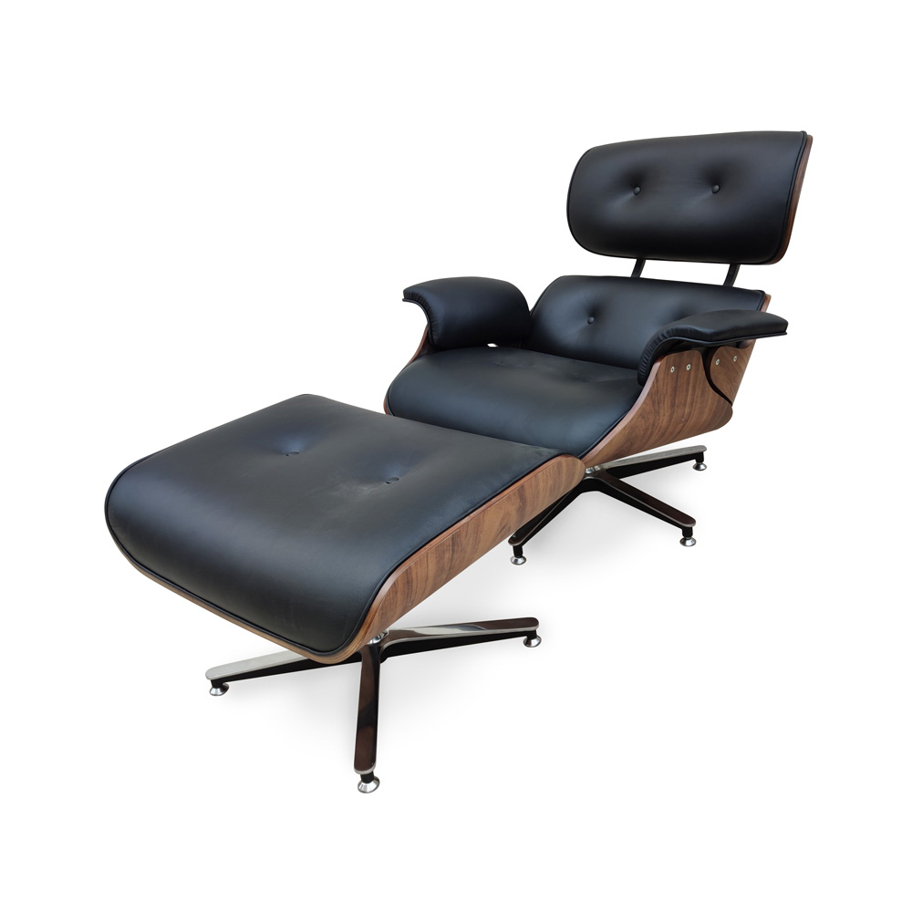 Poltrona Charles Eames Imbuia com Puff Design by Charles Eames