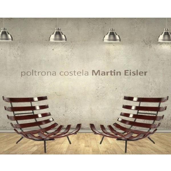 Poltrona Costela Estrutura Aço Inox e Madeira Cremon Design by Martin Eisler