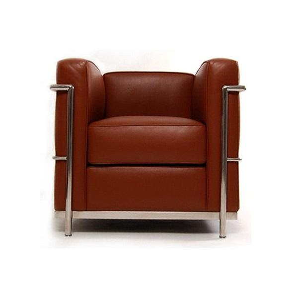 Poltrona LC2 Masculina Estrutura em Tubo Aço Inox Cremon Design by Le Corbusier