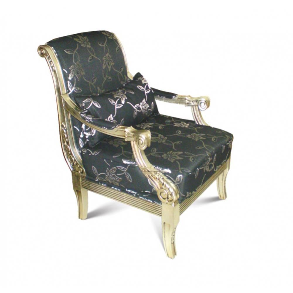 Poltrona Luis XVI Entalhada em Madeira com Pinturas e Tecidos Personalizados