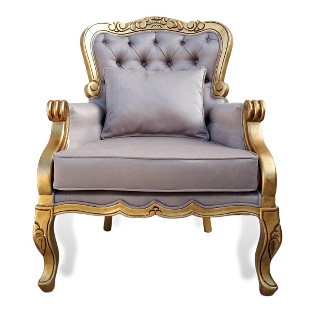 Poltrona Luxo Entalhada Folha Ouro