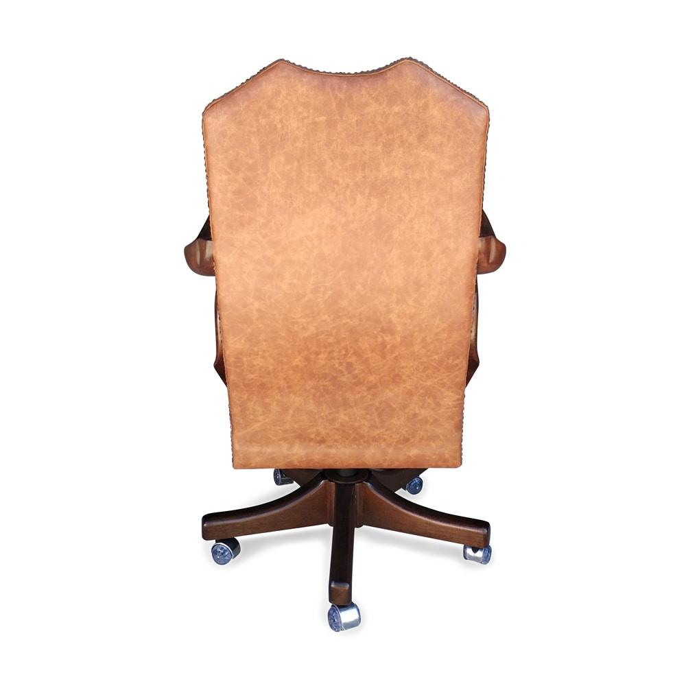 Poltrona Luxo Giratória pé de madeira couro