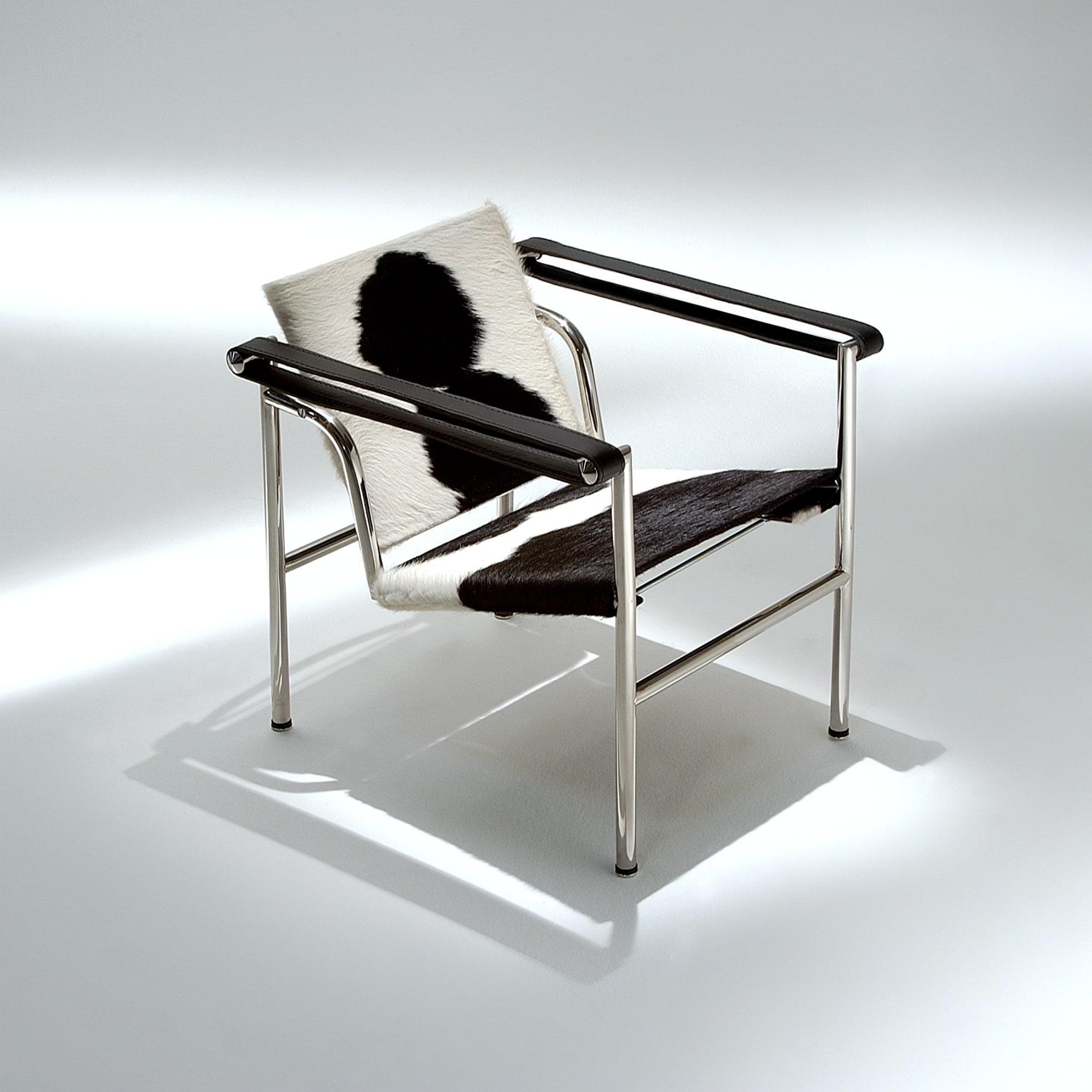 Poltrona LC1 Decorativa Couro Estrutura Aço Inox Studio Mais Design by Le Corbusier