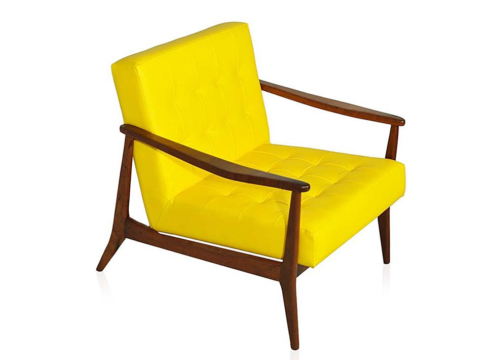 Poltrona Vintage Couro Amarelo