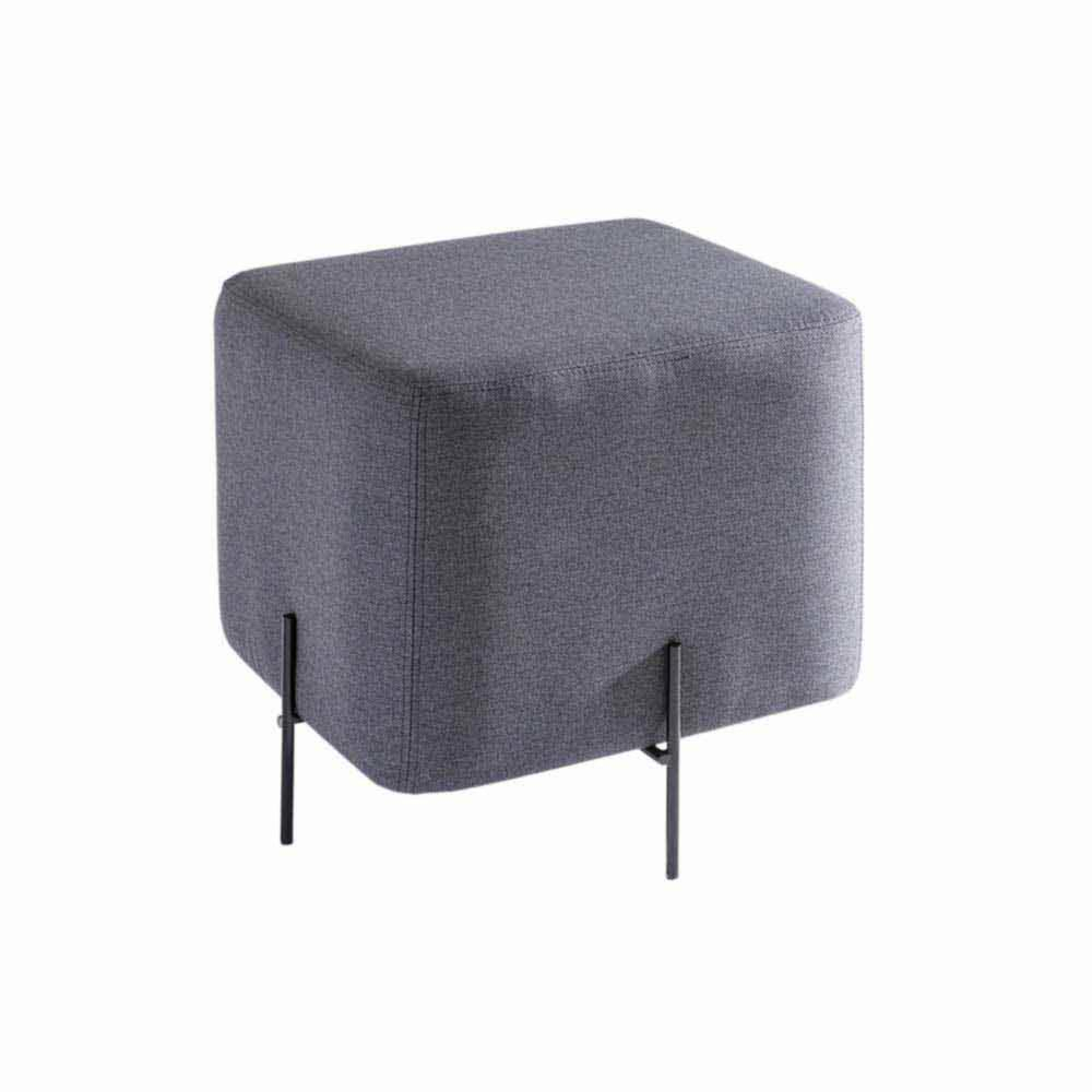 Puff Nobilis Quadrado Estofado com Base Aço Carbono Design Industrial e Minimalista