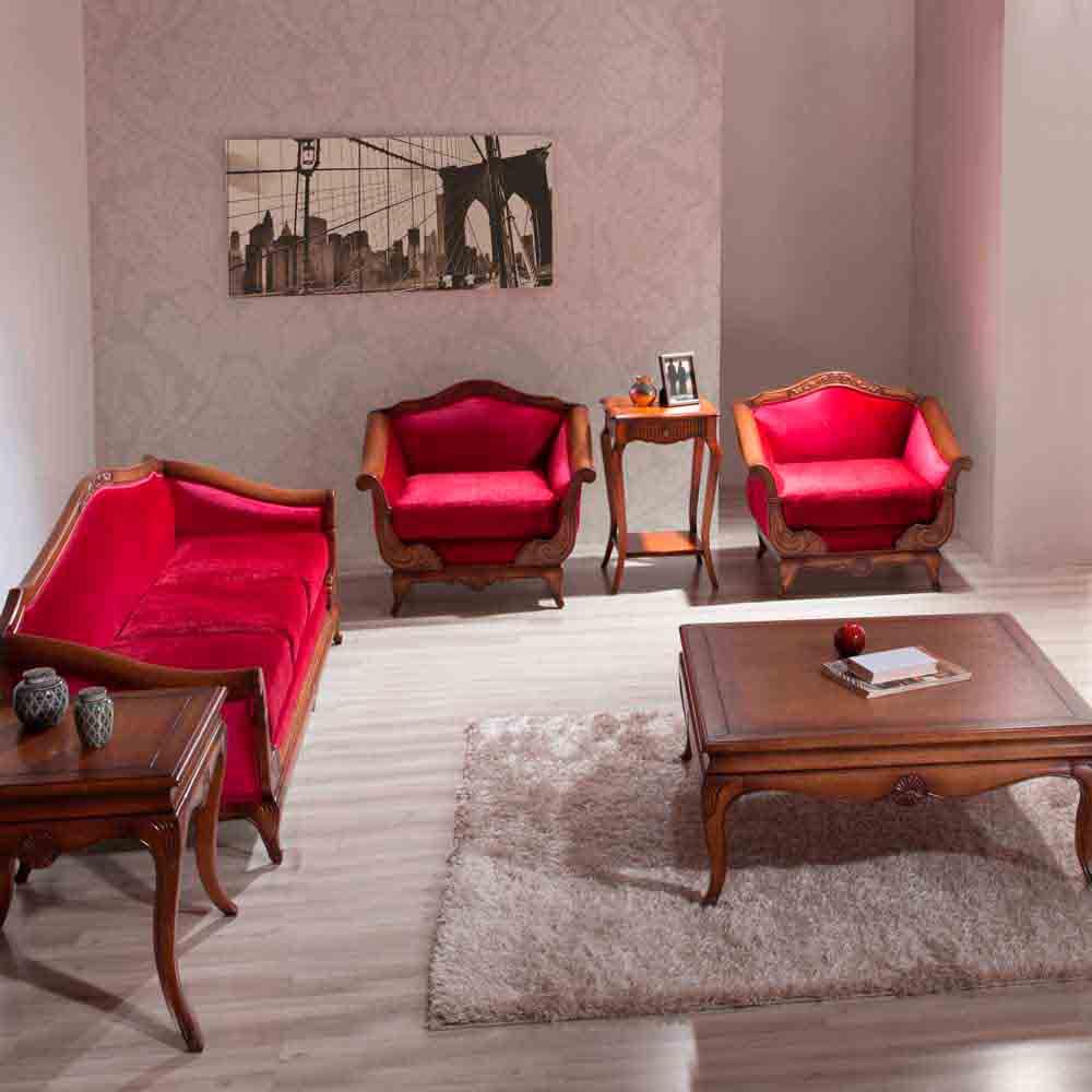 Sofá Heart 3 Lugares Madeira Maciça Design Clássico Avi Móveis