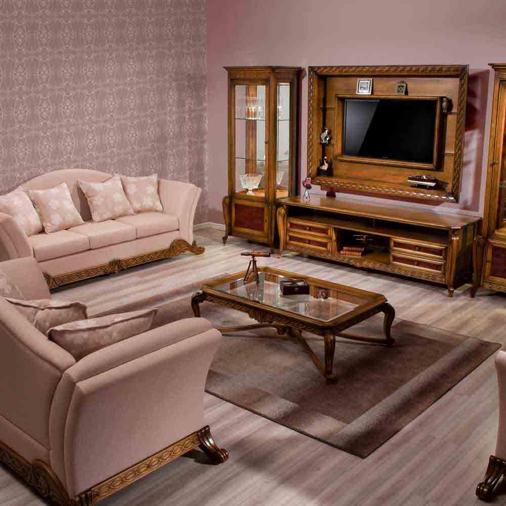 Mesa de Centro Hillux Tampo com Vidro Madeira Maciça Design Clássico Avi Móveis
