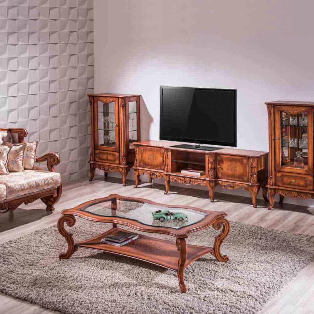 Mesa de Centro Premier Tampo com Vidro Madeira Maciça Design Clássico Avi Móveis