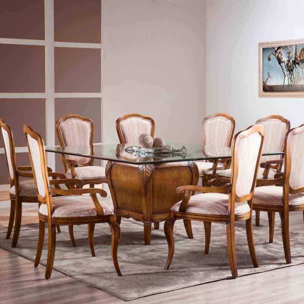 Mesa de Jantar Hillux Quadrada com 1 Base Madeira Maciça Design Clássico Avi Móveis