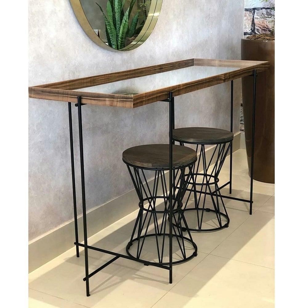 Seat Garden Landes Assento em Pinus Estrutura Aço Carbono Preto Design Industrial e Minimalista