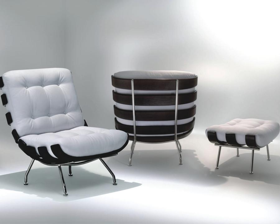 Puff Banqueta Costela Multilaminado Castanho Estrutura Aço Inox Studio Mais Design by Martin Eisler