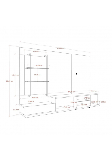 Rack com Painel Tivoli Cinamomo / Off White Fosco 270 cm