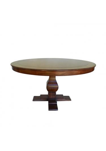 Mesa de Jantar Aurora Redonda Madeira Maciça Design Clássico Avi Móveis