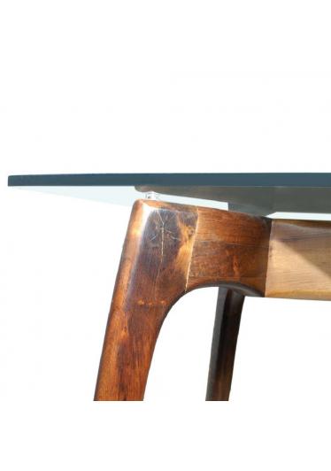 Aparador Design Tampo em Vidro Base Imbuia Maciça