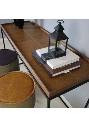 Aparador Kayes Aplique em Couro Caramelo Aço Carbono Pintado Design Industrial e Minimalista