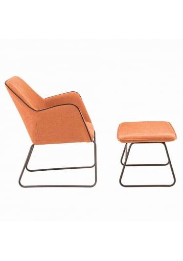 Apoio para Pés Savage Estofado Lona Tangerine Base Aço Carbono Preto Design Industrial e Minimalista