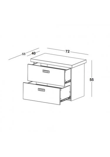 Balcão Kenzo para Lavabo Puxador em Aço Escovado Máxima Móveis