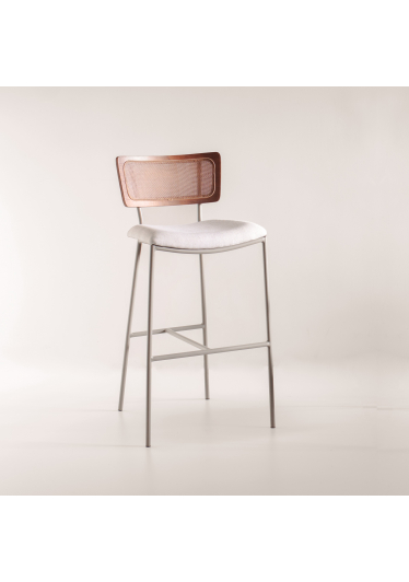 Banqueta Greta Tela Natural e Estofada Design Contemporâneo Design by Estúdio Casa A