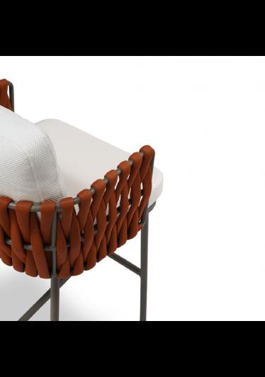 Banqueta Nath para Área Externa Trama Corda Náutica Estrutura Alumínio Eco Friendly Design Scaburi