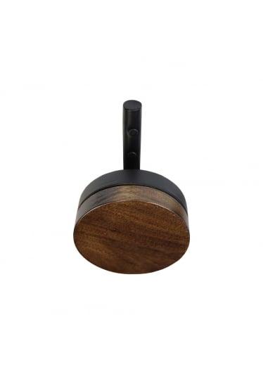 Cabideiro Cookie Suporte Madeira Eucalipto e Aço Carbono Pintado Preto Design Industrial e Minimalista
