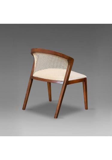 Cadeira Ana Tela e Madeira Maciça Design Clássico Avi Móveis