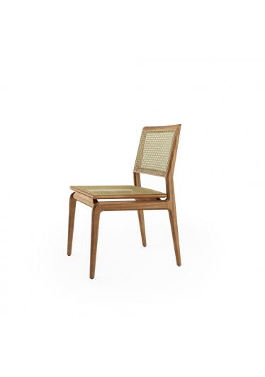 Cadeira Aria Palha Natural Base Jequitibá Coleção Bari Tremarin Design by Fernando Sá Motta