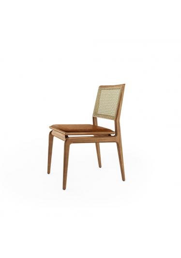 Cadeira Aria Palha e Estofado Base Jequitibá Coleção Bari Tremarin Design by Fernando Sá Motta