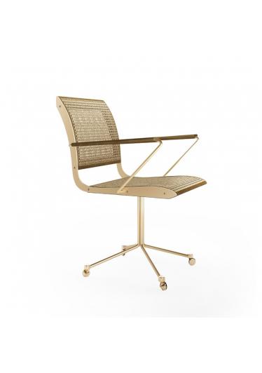 Cadeira com Braço Falx Office Palha Natural Rodízios Coleção Bari Tremarin Design by Fernando Sá Motta