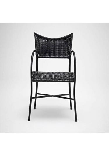 Cadeira com Braço Mediterrâneo Junco Sintético Estrutura em Aço Design by Studio Artesian