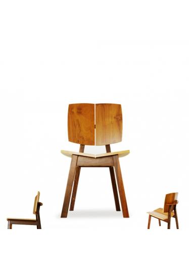 Cadeira de Design em Madeira Maciça com Pinturas Personalizáveis
