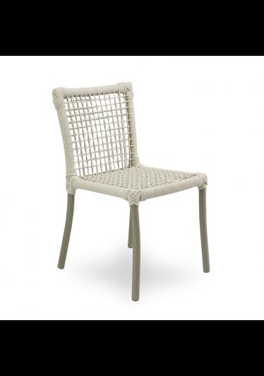 Cadeira Dora para Área Externa Trama Corda Náutica Estrutura Alumínio Eco Friendly Design Scaburi