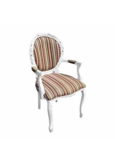 Cadeira Estilo Medalhão Entalhada com Braço com Pinturas e Tecidos Personalizáveis
