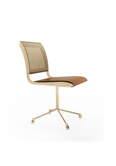 Cadeira Falx Office Palha e Estofada Rodízios Coleção Bari Tremarin Design by Fernando Sá Motta