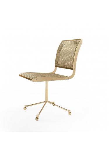Cadeira Falx Office Palha Natural Rodízios Coleção Bari Tremarin Design by Fernando Sá Motta