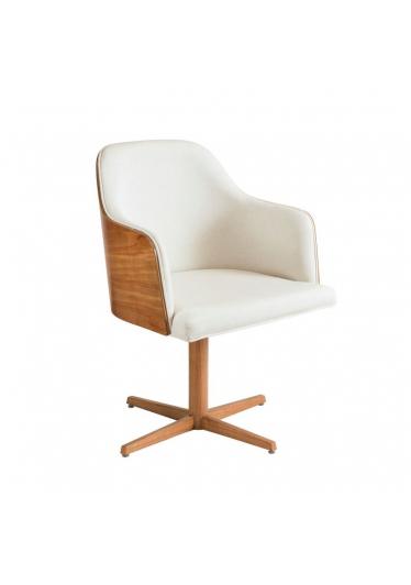 Cadeira Giratória Luiza Estofada Base Alumínio com Lâmina Cinamomo Star Mobile