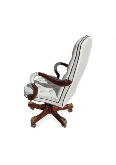 Cadeira Giratória Luxo Capitonê Pés Madeira Entalhada Ajuste de Altura e Relax Design Clássico