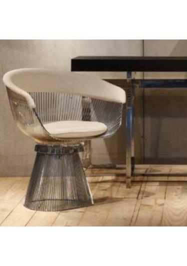 Cadeira Giratória Platner Assento Estofado e Encosto com Aplique Estrutura em Aço Nolan Collection Design by Warren Platner