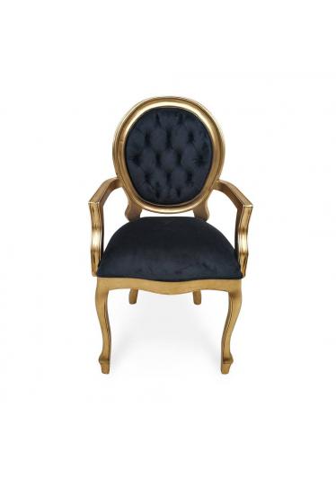 cadeira imperial braco capitonê ouro velho