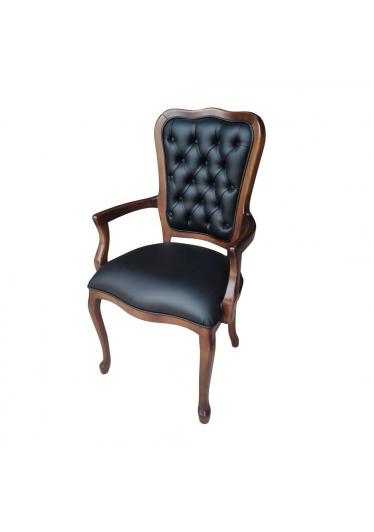 Cadeira Inglesa com Braço em Madeira Maciça Imbuia com Couro