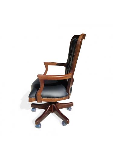 Cadeira Inglesa Giratória em Madeira e Capitone com Ajuste de Altura e Relax