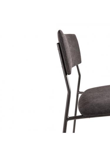 Cadeira Gardien Estofada Base em Aço Carbono Preto Design Industrial e Minimalista