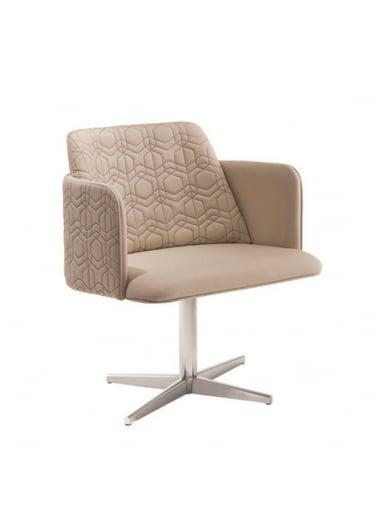 Cadeira Giratória Leny Matelassê Base Aço Inox Star Mobile